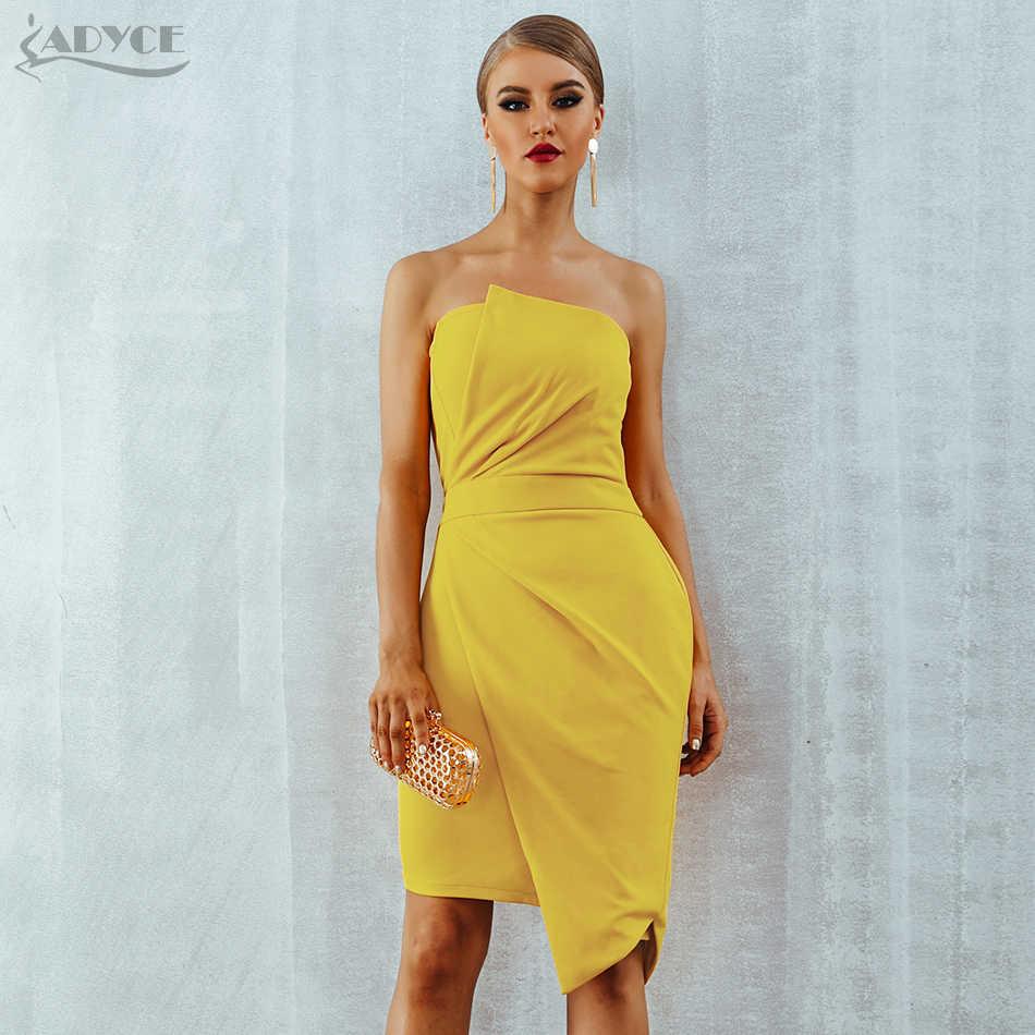 1ffd6f5a159 Adyce Желтый платье для вечеринок подиума для женщин летние платья Verano  2019 без рукавов без бретелек