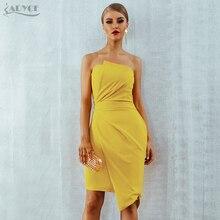 Adyce 2019 Sommer Gelb Mode Party Runway Kleid Frauen Vestidos Sleeveless Liebsten Elegante Seite Zipper Celebrity Club Kleid