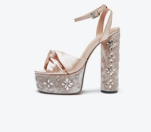 New 15CM Thick Heels Sandal for Woman Crystal Embellished Platform High Heel Shoes Runway Peep Toe Ankle Strap Dress Sandal new arrival crystal embellished woman sandal green big flower butterfly knot decor wedge pumps 11cm high braided heel woman shoe