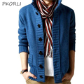 2016 Autumn Winter Mens Cardigan Sweater Men Knitted Warm Coat Casual Brand Cardigans Pocket Decorative Buttons Male Sweaters