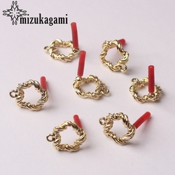 Zinc Alloy Golden Distorted Round Circle Base Earrings Connector Charms 14mm 6pcs/lot For DIY Drop Earrings Making Accessories