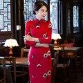 New Arrival Women Autumn Winter Thickening Warm Slim Woolen Cheongsam Embroidery Chinese Dress Elegant Qipao Vestido M-XXXL