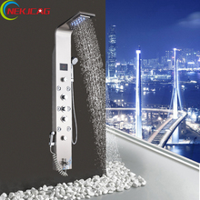 Bathroom Shower Panel Faucet Rain Waterfall Tower Shower Colum 6pc Massage Jets Brass Bidet Tub Spout with Hand Shower