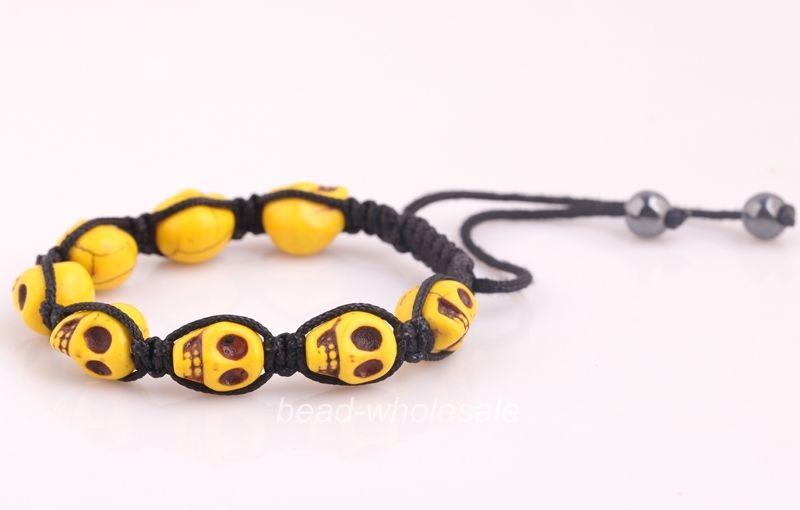 New Coming Skull Power Balance Bracelet Yellow Man made ...