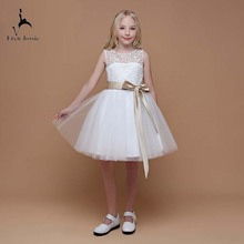 Eren Jossie/красивое белое фатиновое платье с цветочным узором для девочек модное кружевное платье до колена с лифом De Soiree и поясом
