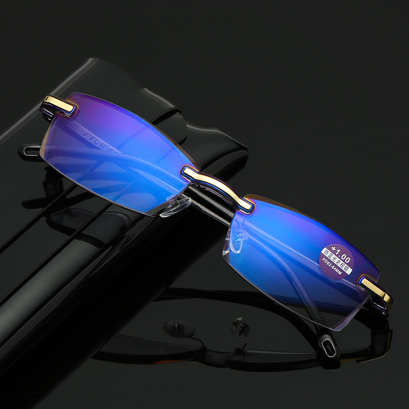 Reading Glasses Hyperop-Eyewear Computer Square Rimless Far-Sight Presbyopia Blue