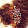T55 Мода Девушки Женщин Винтаж Красочные Rhinestone Павлин Шпилька Зажим Для Волос Новый 2016