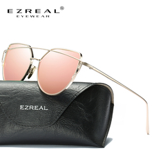 EZREAL Hot Sale Fashion Cat Eye Sunglasses Women Classic Brand Designer Female Twin-Beams Coating Mirror Flat Panel Lens 074