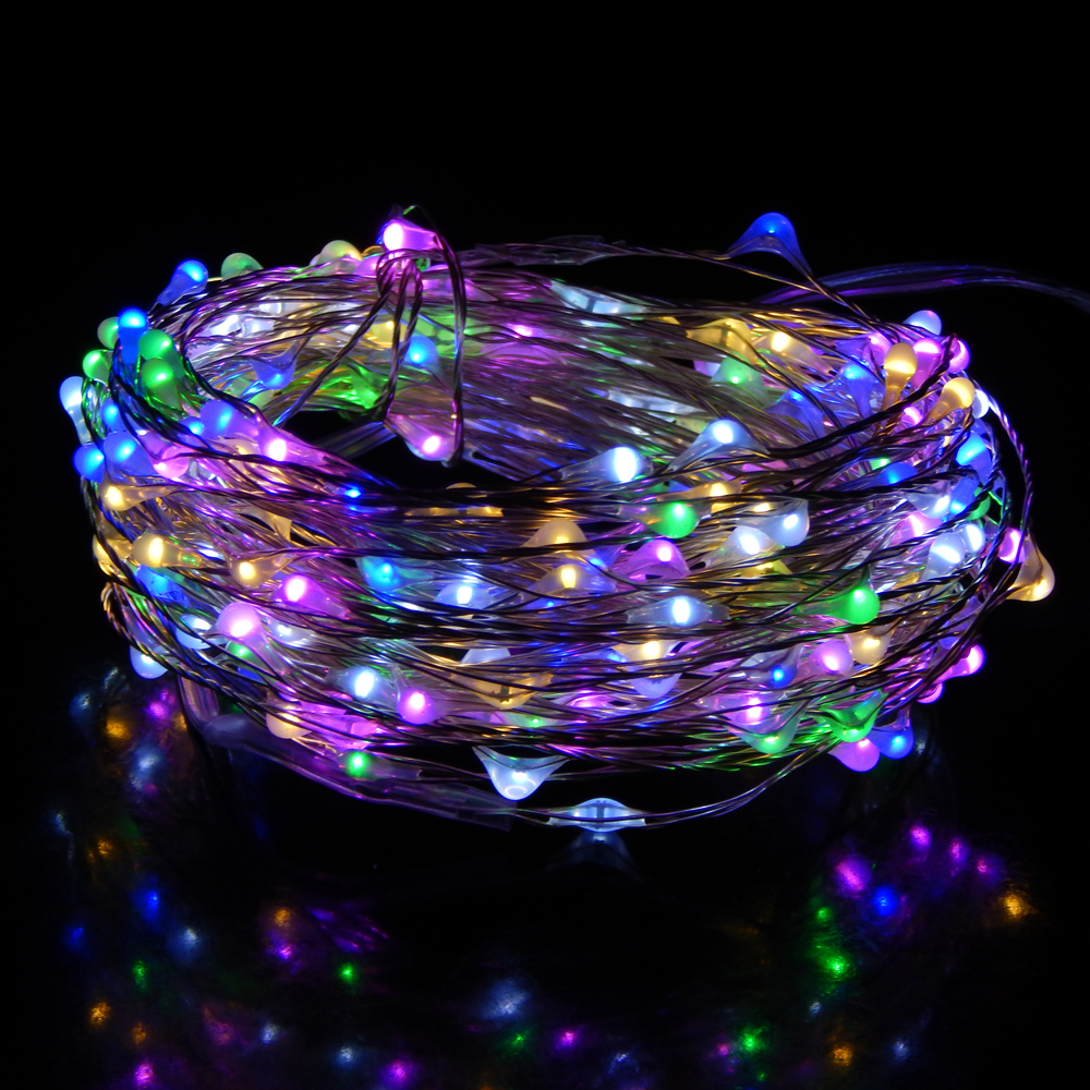 5 Modes 12M 240Leds 6AA Battery Operated Silver Wire Led String Lights Waterproof Christmas Starry Fairy Lights