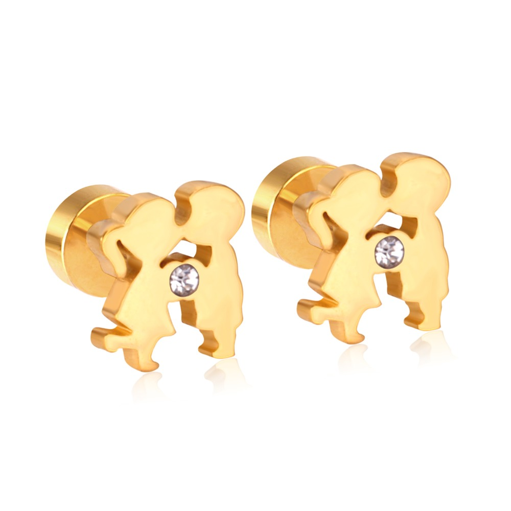 b1fa9e9a7 Fashion Jewelry Brincos Unisex Earrings Stainless Steel Gold Color Crystal  Figure Boy And Girl Stud Earrings