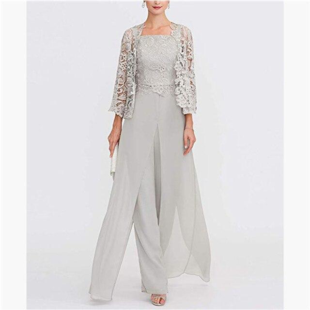 Elegant Gray Lace Mother of The Bride Pant Suit 2019 Plus Size Chiffon Formal Evening Dresses Long Vestidos De Madrina 1