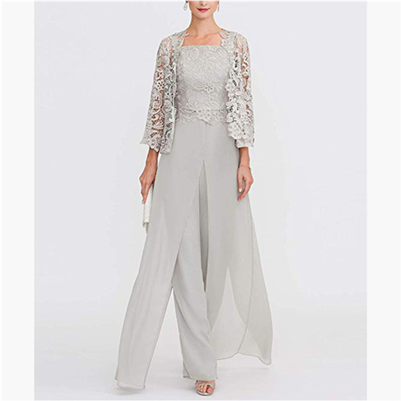 Elegant Gray Lace Mother Of The Bride Pant Suit Plus Size Chiffon Formal Mother Evening Dresses Long Vestidos De Madrina
