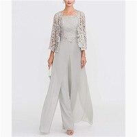 Elegant Gray Lace Mother of The Bride Pant Suit 2019 Plus Size Chiffon Formal Evening Dresses Long Vestidos De Madrina