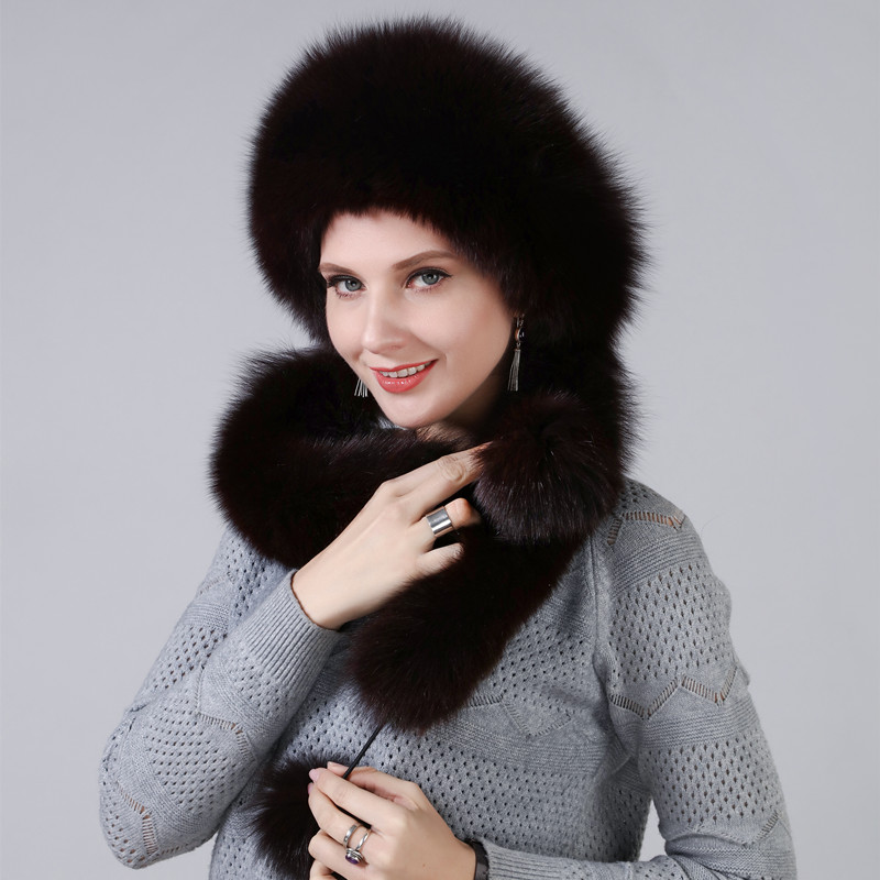 Sombrero de invierno de mujer con piel de zorro Natural Real longitud Extra se puede utilizar como bufanda con colgante cadena en las tapas traseras - 2