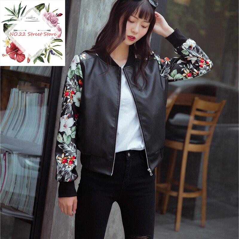 NO.22Street 2018 New Fashion Women Folral Printed   Leather   Jacket Winter Autumn PU   Leather   Jacket Biker Punk Faux   Leather   Jacket