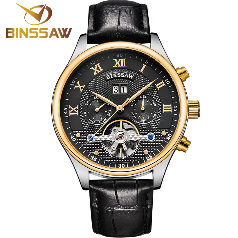 BINSSAW Mechanical Watches Men Leather Tourbillon Watch Top Luxury Brand Mens Automatic Business Wristwatch relogio masculino купить