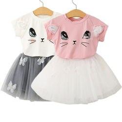 Criança infantil da criança dos miúdos do bebê meninas roupas primavera verão bonito gato impressão t camisa topos tutu saia vestido 2 pçs adorável conjunto