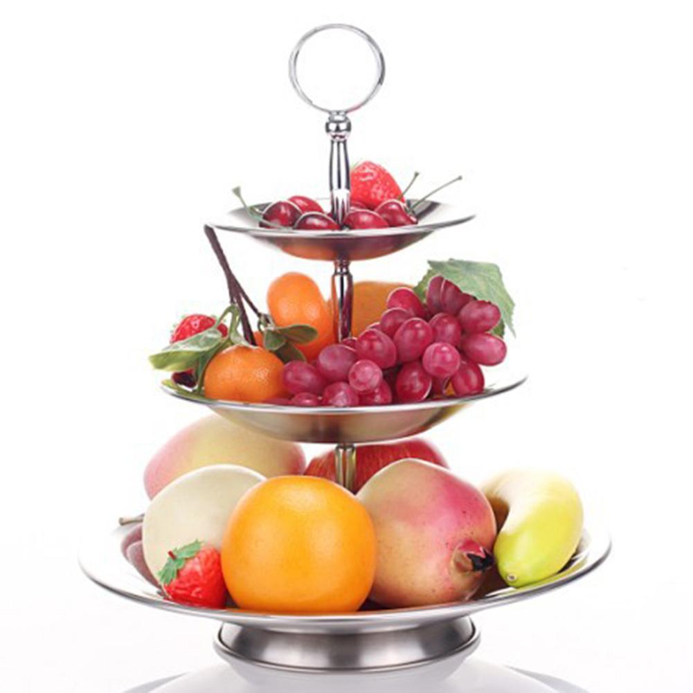 Fruit Basket Bowl 3 Tier Vegetable Rack Stainless Steel ball Stand Holder New