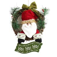 30cm Christmas Wreath For Front Door Hang Garland With Santa Claus Snowman Ornaments Natural Rattan Wreath