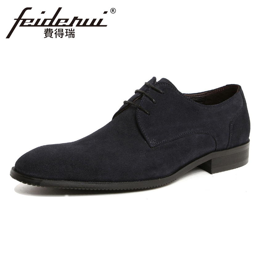 High Quality Handmade Derby Men's Footwear Cow Suede Leather Round Toe Lace-up Man Formal Dress Wedding Party Shoes YMX133 elanrom summer men formal derby wedding dress shoes cow genuine leather lace up round toe latex height increasing 30mm massage