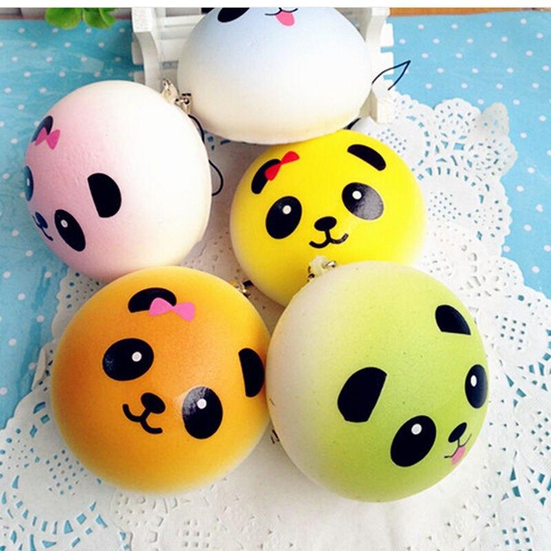 4CM Mini Colorful Cartoon Panda Face Kids Toy Phone Straps Squishy Toys Cute Gag Joke Slow Rising Bread Squeeze Fun P15