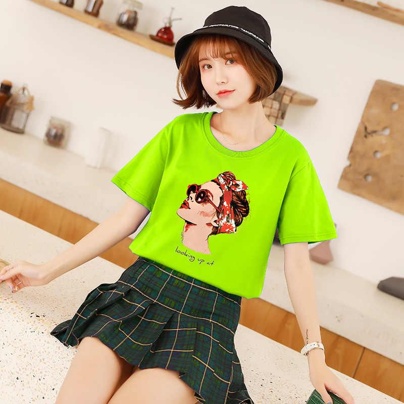 Новая мода Прохладный печати женские футболки белый хлопок Для женщин футболки лето Повседневное Harajuku футболка Femme Топ 7 видов цветов большой размер