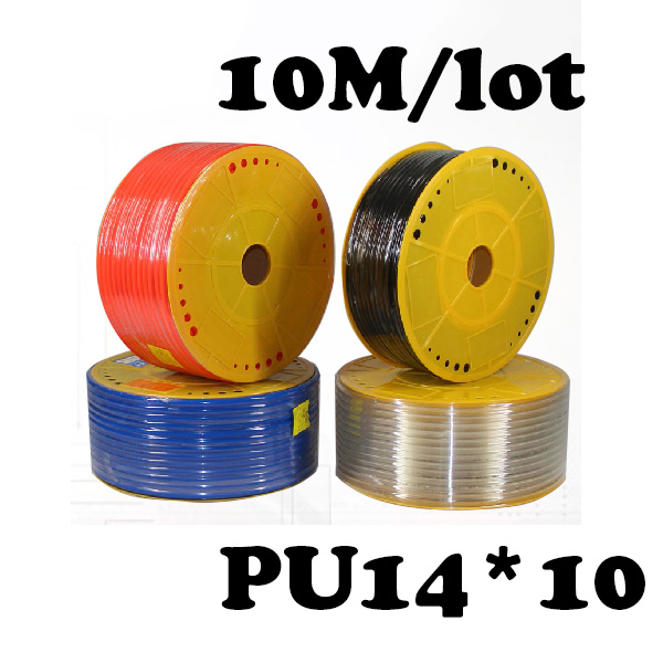 PU14*10 10M/lot  Free shipping PU Pipe 14*10mm for air & water Pneumatic parts pneumatic hose ID 10mm OD 14mm water valve connector sucking pipe of filling machine water drawing hose pvc pipe steel spring inside food safe od 40mm 2m