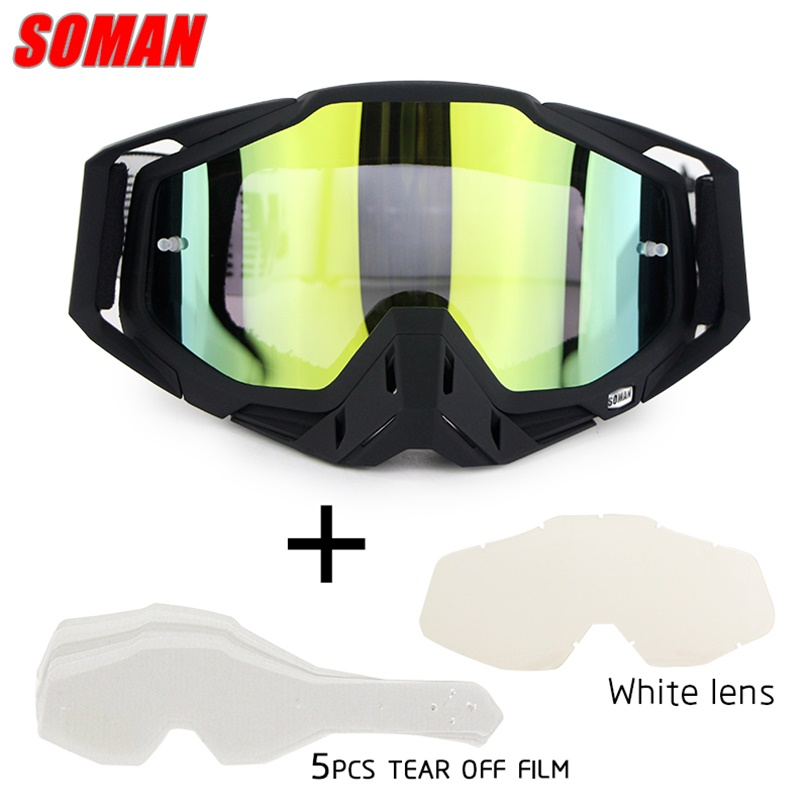 Soman Brand Lunettes Motocross Motor Men Women Motorcycle Goggles Helmet Off-Road Unisex Racing Skiing Glasses SM11
