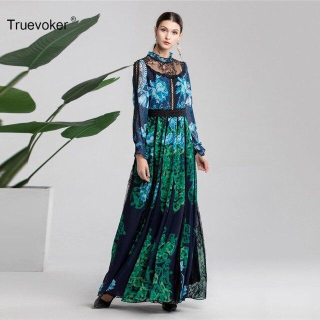 Truevoker Designer Spring Long Dress Women s Gradient Color Green Printed  Black Lace Cutout Maxi Vestido Robe Femme Ete bb5b90381e93