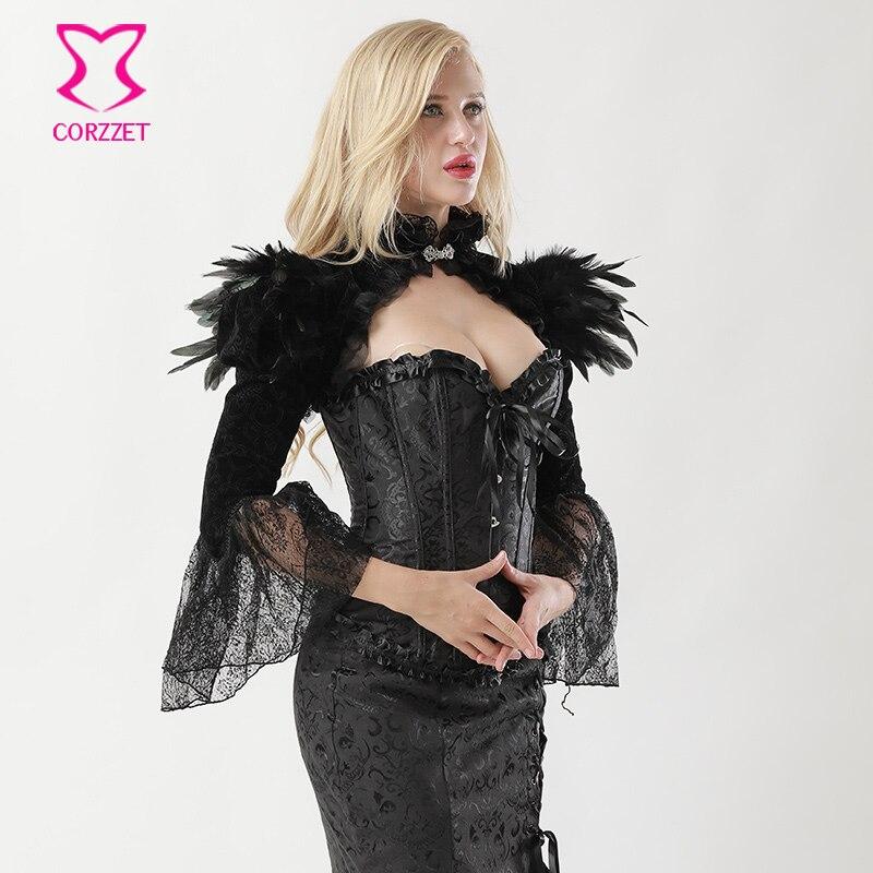 Corzzet Victorian Black Flannel Veste Veste à Manches Longues - Vêtements pour femmes - Photo 5
