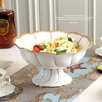 Креативное изделие из костяного фарфора Золотое современная мода фрукты чашу для домашняя декорация керамическая свадебный подарок украш