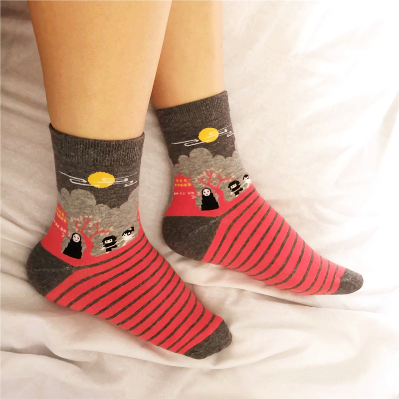 ghibli spirited away kawaii socks women cute sox red soks hot miyazaki japanese animated film character print 4 pairs/pack