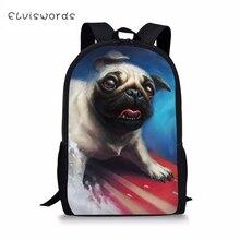 ELVISWORDS Kids School Bags Cute Teenager Travel Backpack Little Bulldogs print Pattern Primary Toddler for Boys
