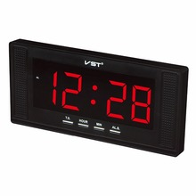 VST 2 in 1 Electronic LED wall & table alarm clock with EU plug brief home decor clock  Modern digital led alarm wall clock