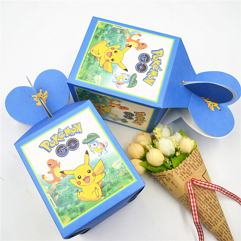 6pcs/lot  Pokemon Pikachu Birthday Party Decorations Candy Box Kids Supplies Spider Man birthday Favors