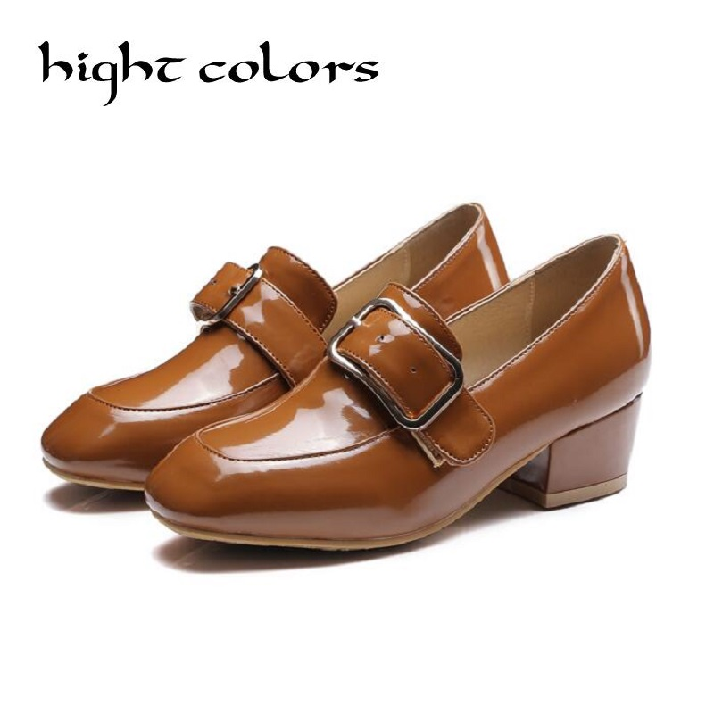 ФОТО Punk Women Pumps High Heels Womens Shoes Brown/Black Large Size Shoes Fashion Casual Square Toe Thick heel Pumps For Women