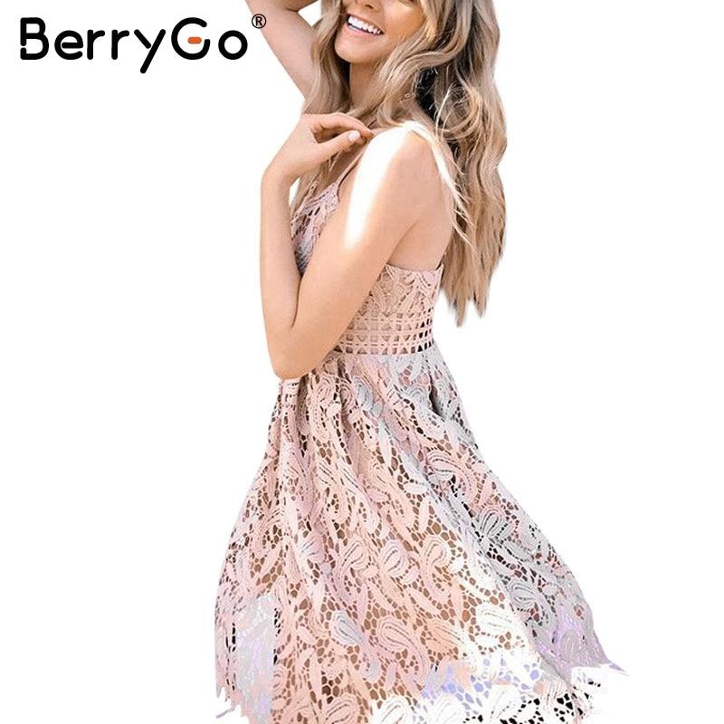 BerryGo Deep V padded backless white lace dress Sexy hollow out party dress vestido de festa Lined summer dress women sundress
