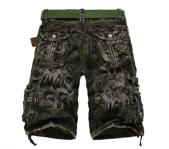 2017 de style marque de mode casual Hommes d'été lâche occasionnel mince droite multi-poches hommes camouflage Shorts pour hommes armée vert