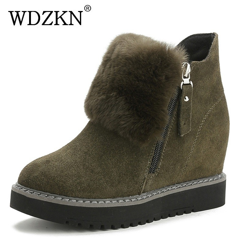WDZKN Platform Women Boots Genuine Leather Ankle Boots For Women Winter Warm Shoes Zipper Height Increasing Casual Wedge Boots 2017 women warm boots genuine leather height increasing cut out flat platform short plush women ankle boots