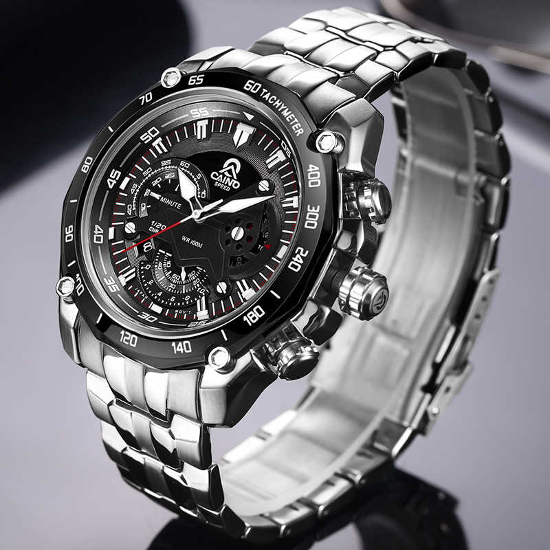 CAINO Men Sport Watches Luxury Top Brand Full Steel Fashion Business Waterproof Analog Quartz Wrist Watch Male Relogio Masculino