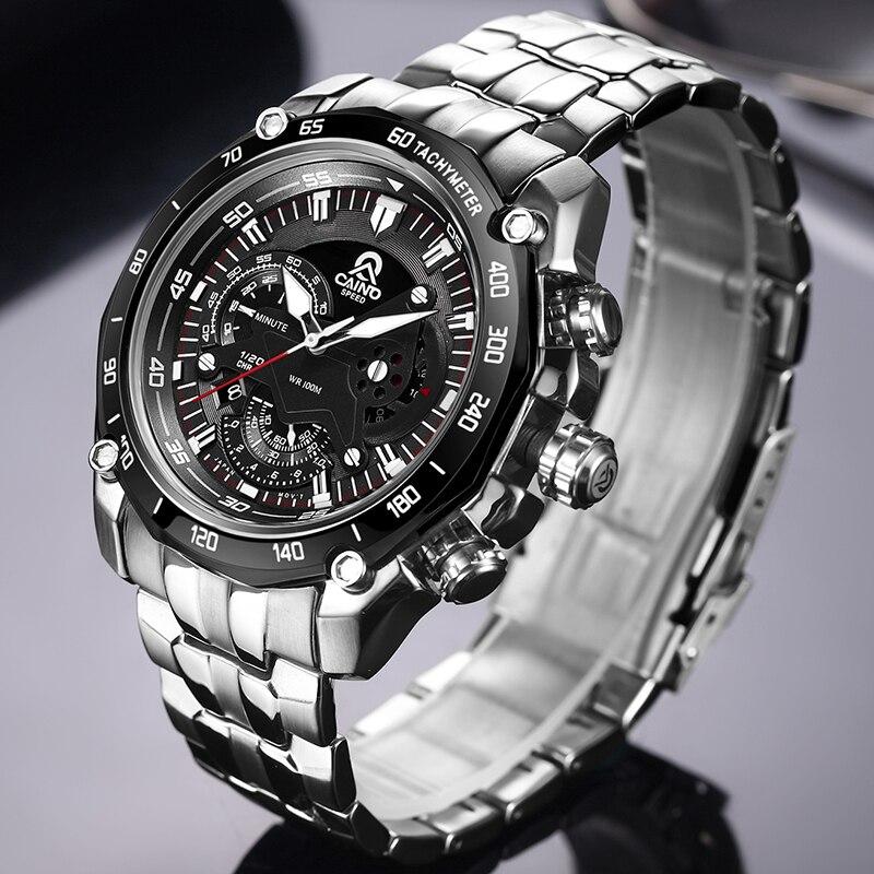 CAINO Для мужчин спортивные часы Элитный бренд полный Сталь модные Бизнес Водонепроницаемый аналоговый Кварцевые наручные часы мужской Relogio ...