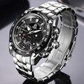 CAINO hombres deportes relojes de lujo marca de acero de negocios de moda impermeable relojes del cuarzo analógico Relogio Masculino