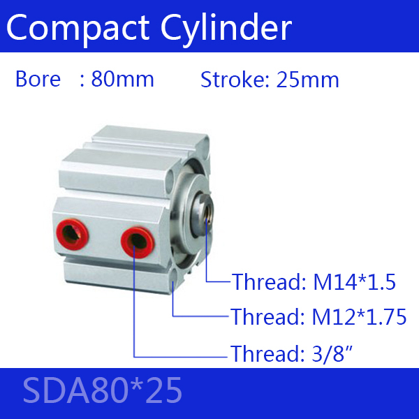 SDA80*25 Free shipping 80mm Bore 25mm Stroke Compact Air Cylinders SDA80X25 Dual Action Air Pneumatic Cylinder free shipping 50mm bore 25mm stroke pneumatic compact cylinder double action sda 50 25 aluminum alloy thin type air cylinders