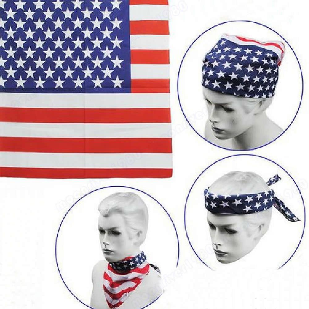 Free Shipping 1pc New Fashion Unisex US Flag   Scarves   Bandanas Hiphop Dance Travel Head   Scarf     Wrap