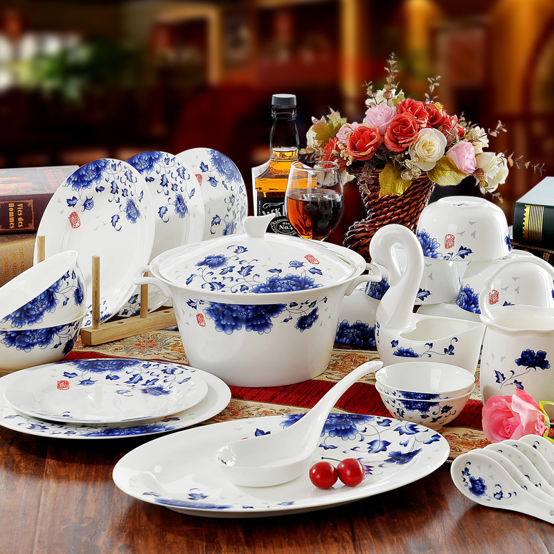 quality bone china blue and white porcelain chinaware dinnerware set glaze dish dishes 56 head. Black Bedroom Furniture Sets. Home Design Ideas