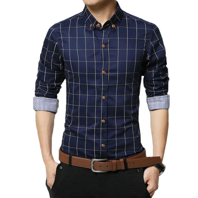 Buy 2017 new mens casual shirts long for Mens casual plaid shirts