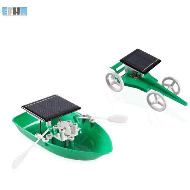 efhh diy solar energy green power toys solar boat and solar car toy science educationals kids
