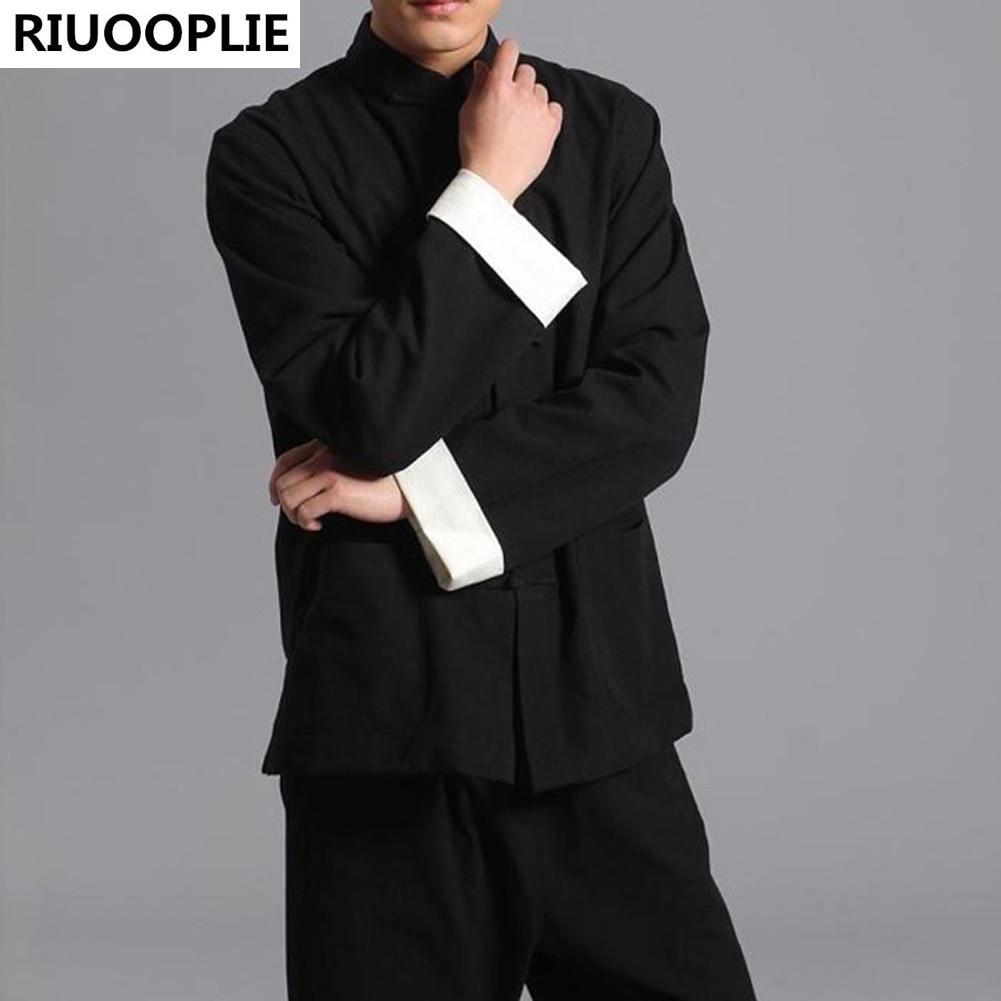 RIUOPLIE ملابس طويلة الأكمام على الوجهين الصينية التقليدية تانغ البدلة الأعلى للرجال الكونغ فو