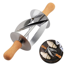 Рулонный резак из нержавеющей стали для изготовления Круассанов для хлеба, колесо для теста, деревянная ручка ножа для выпечки, кухонный нож