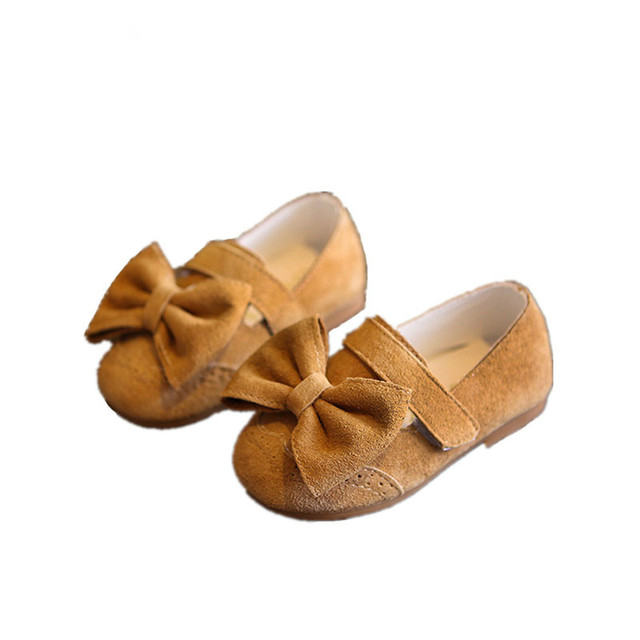 WENDYWU girls fashion princess bow flats for baby girl brand party suede children genuine leather shoes brown